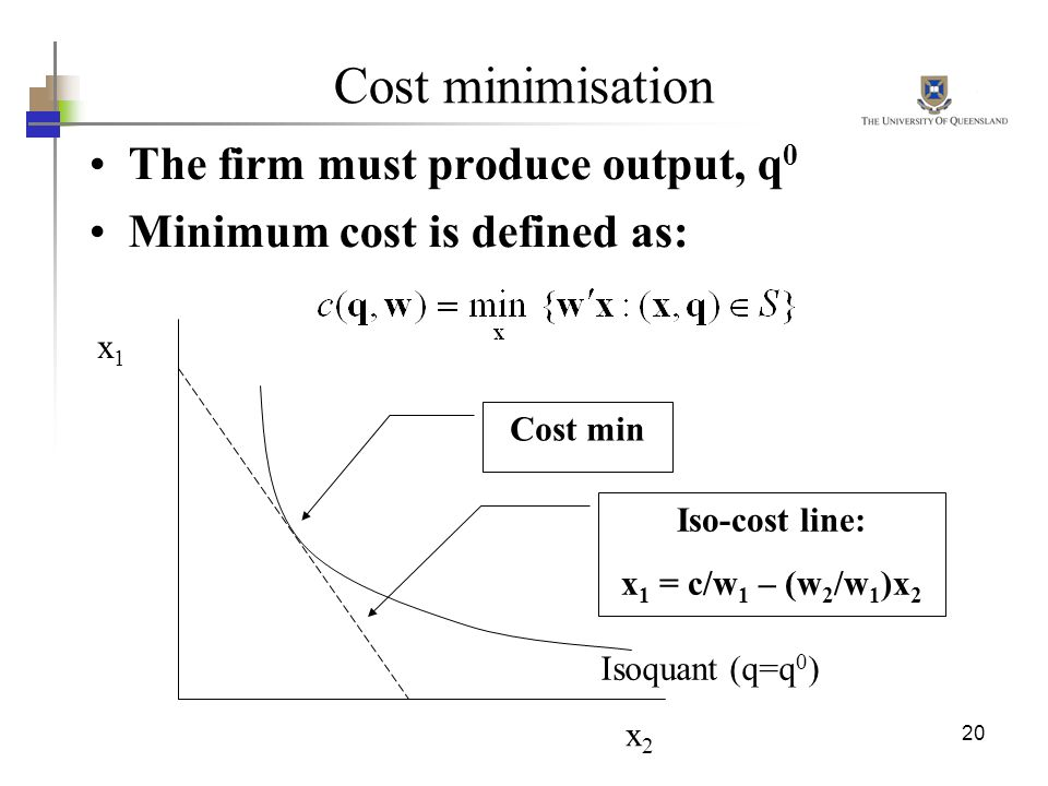 Cost minimisation The firm must produce output, q0