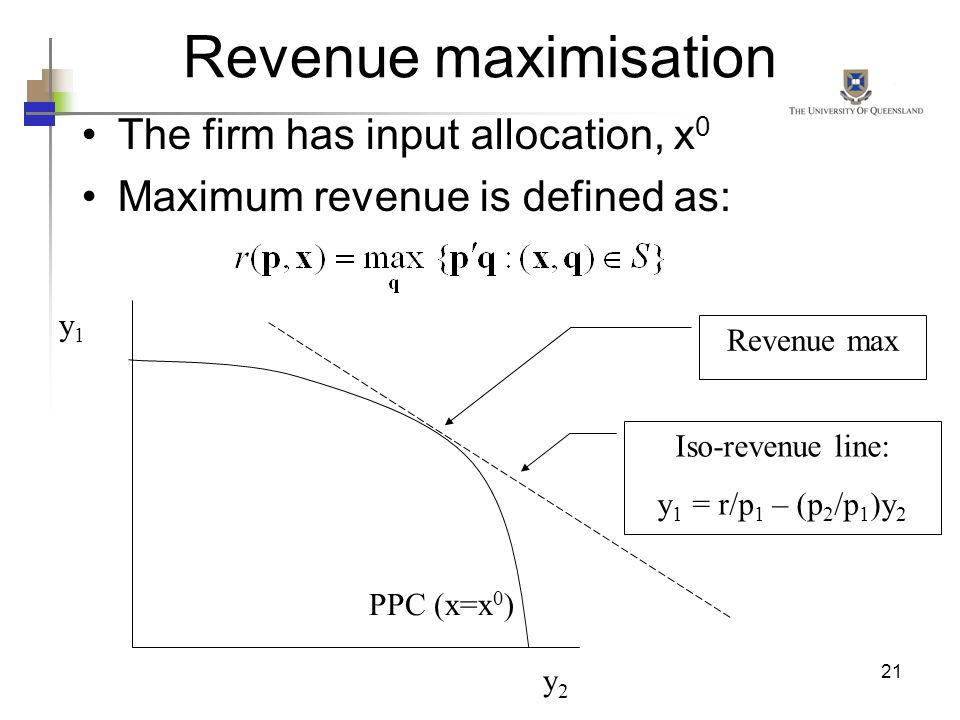 Revenue maximisation The firm has input allocation, x0
