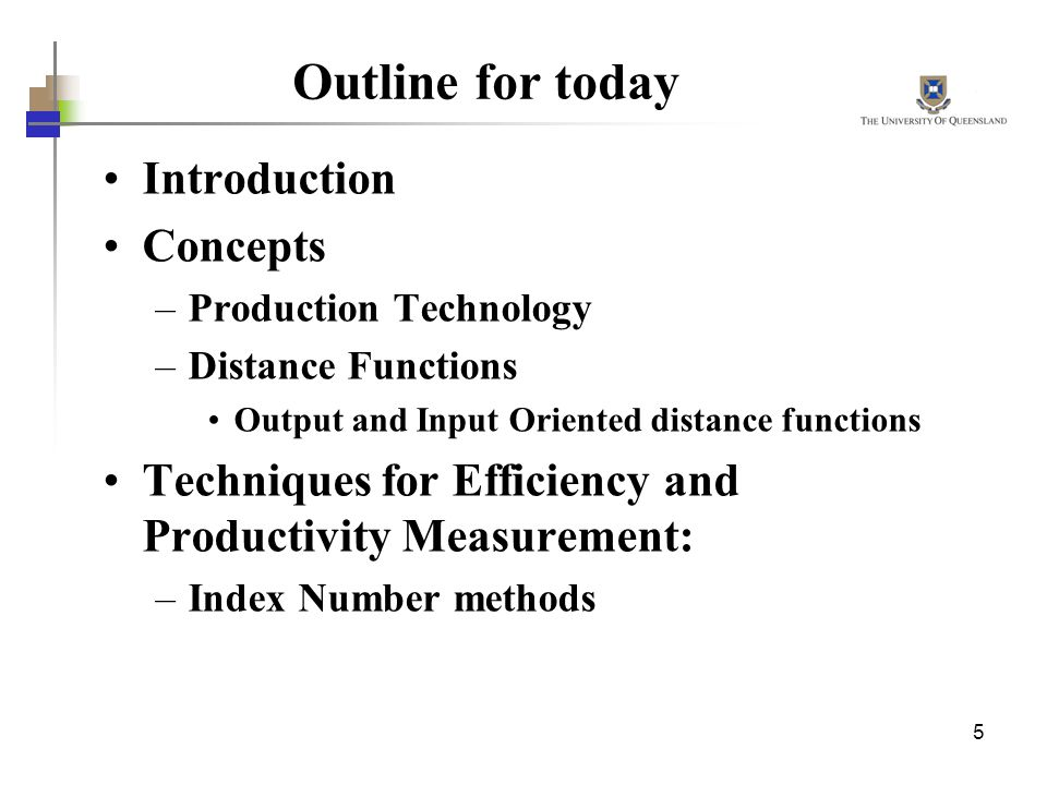Outline for today Introduction Concepts