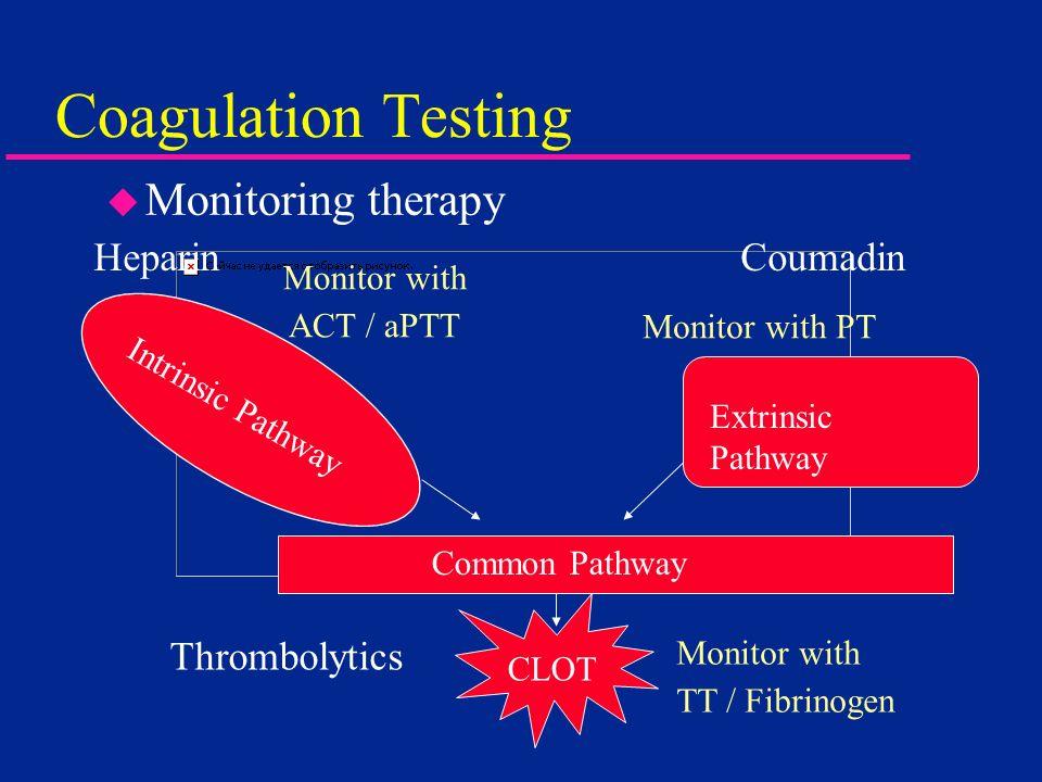 Coagulation Testing Monitoring therapy Heparin Coumadin Thrombolytics