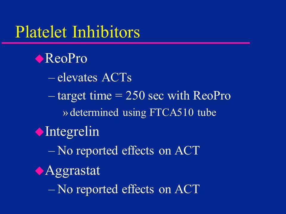 Platelet Inhibitors ReoPro Integrelin Aggrastat elevates ACTs