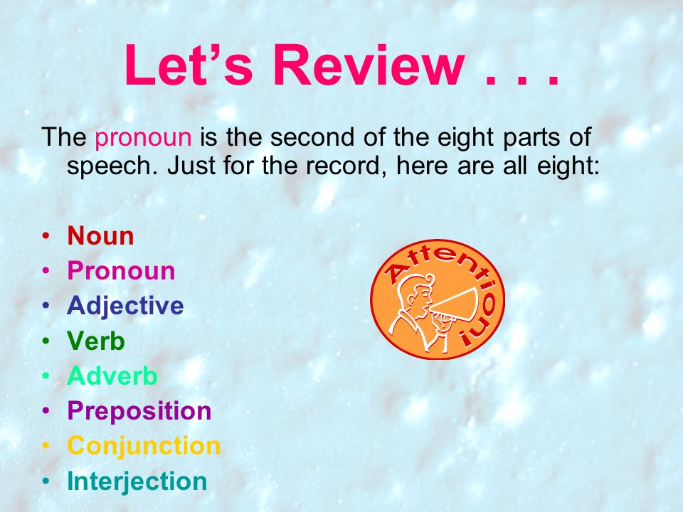 Let's Review The pronoun is the second of the eight parts of speech. Just for the record, here are all eight: