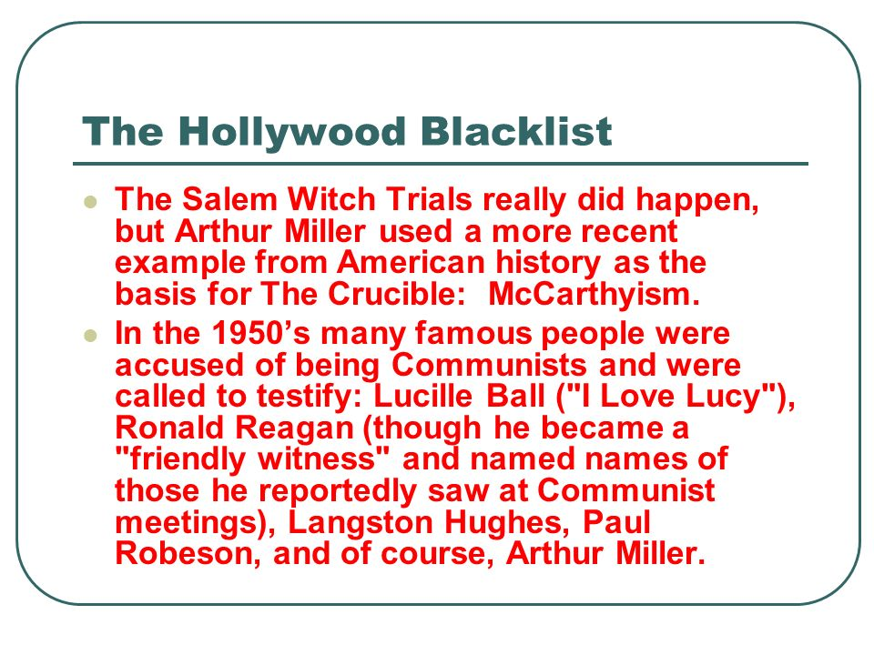 The Hollywood Blacklist