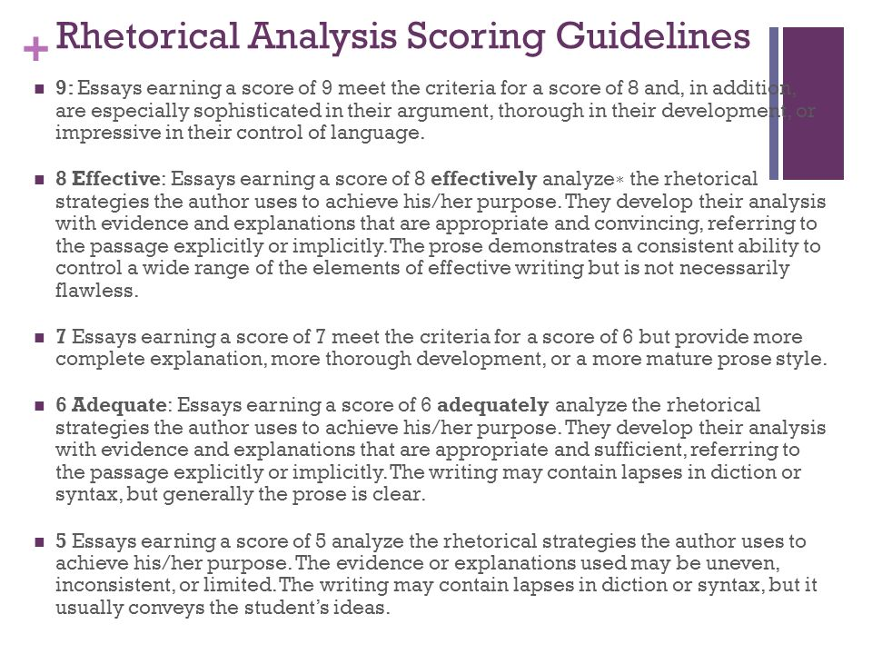 Essay scoring guidelines