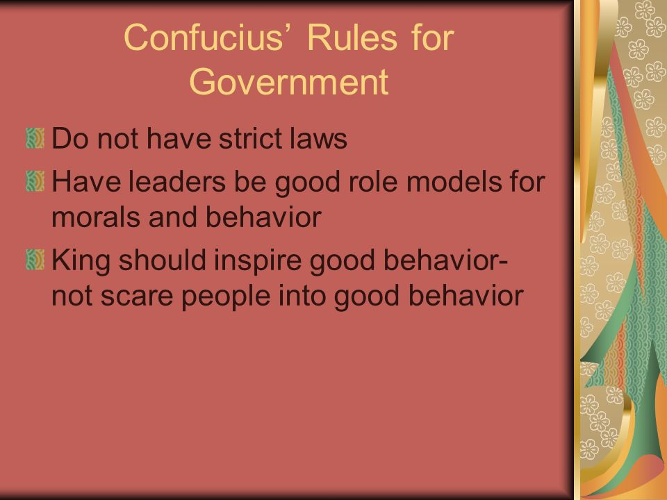 Confucius' Rules for Government