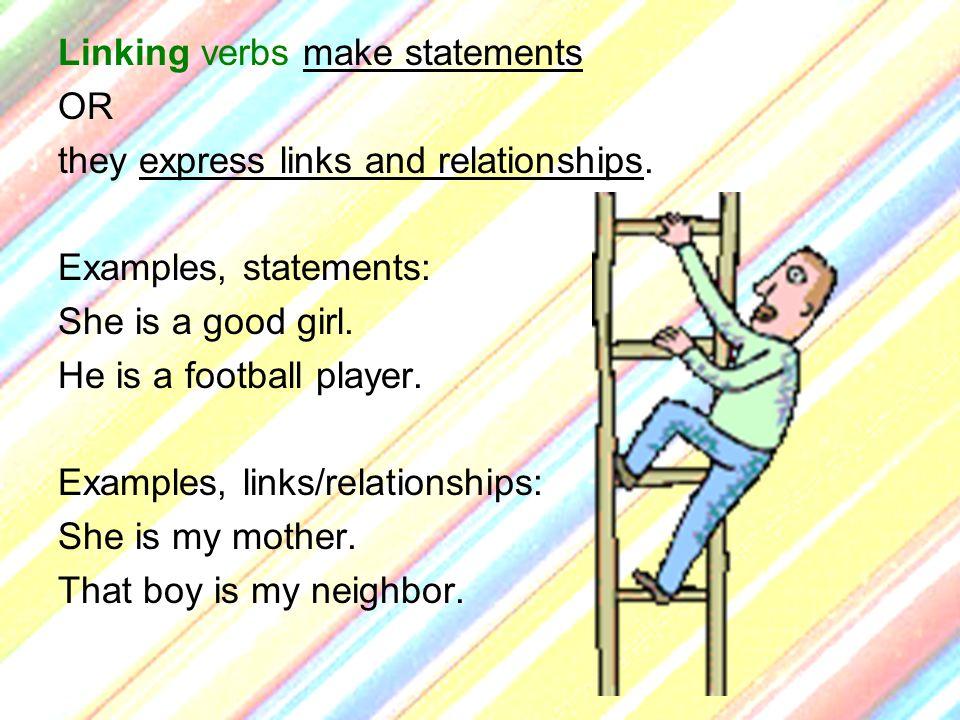 Linking verbs make statements