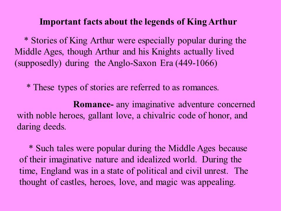 Important facts about the legends of King Arthur