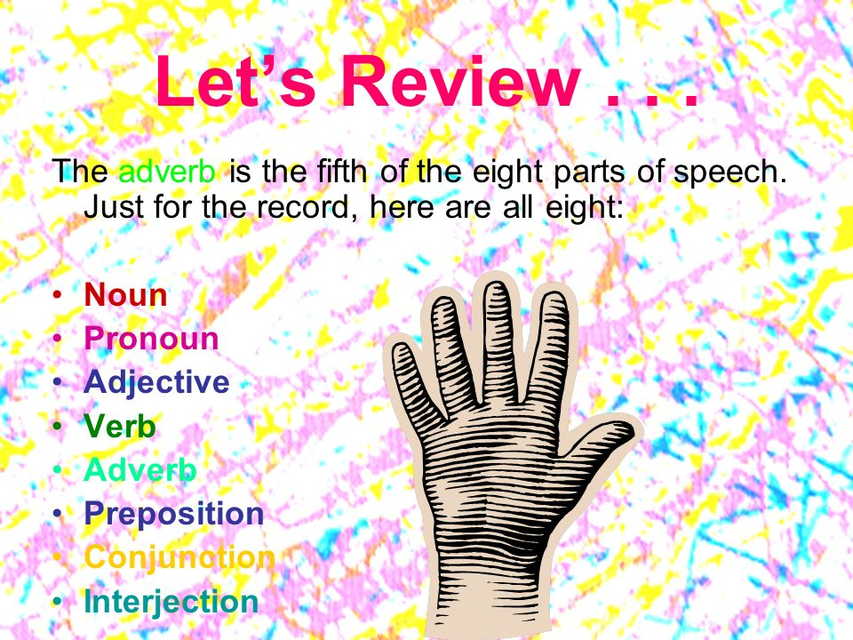 Let's Review The adverb is the fifth of the eight parts of speech. Just for the record, here are all eight: