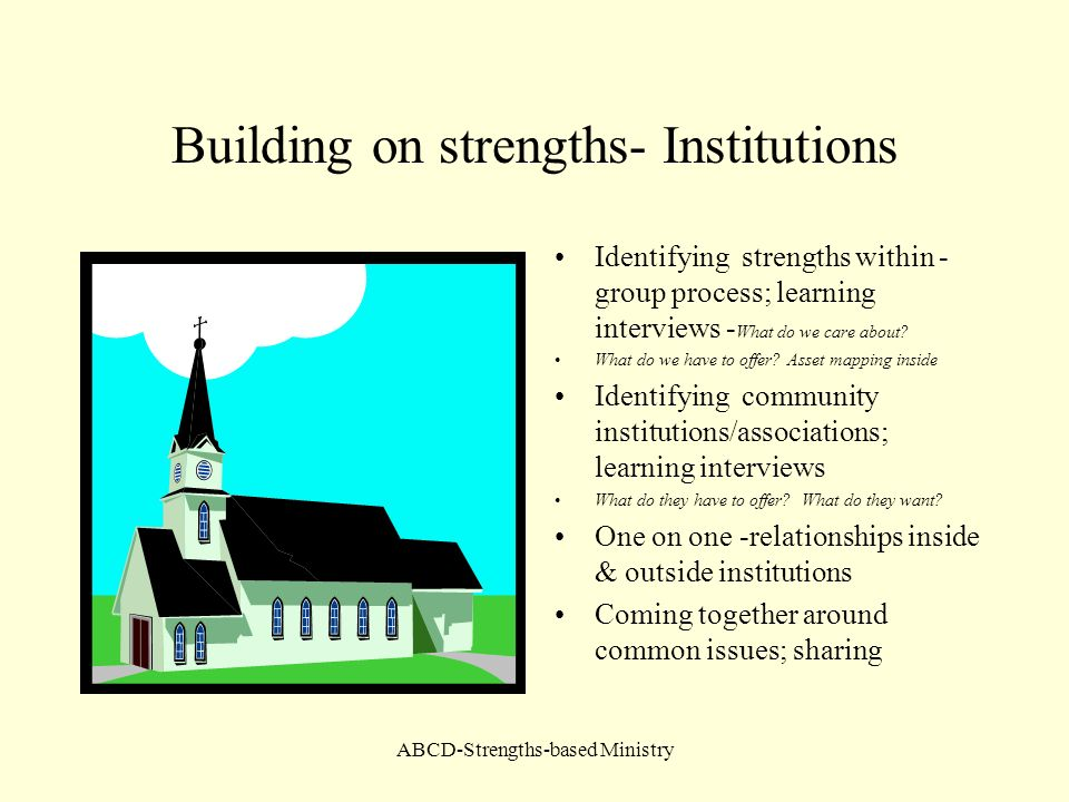 Building on strengths- Institutions
