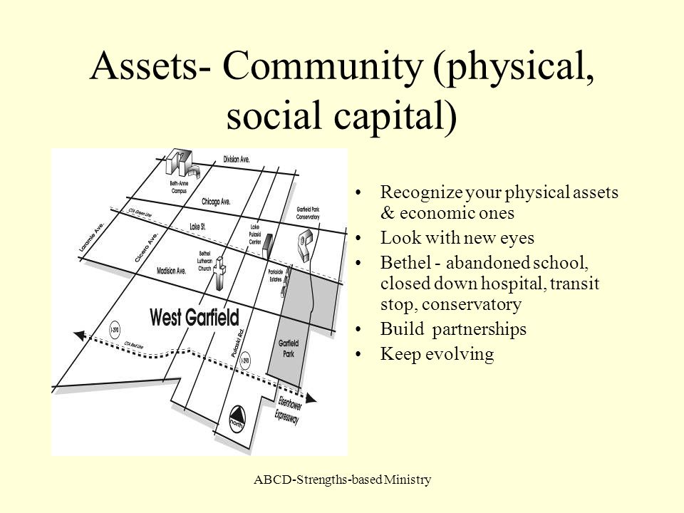 Assets- Community (physical, social capital)
