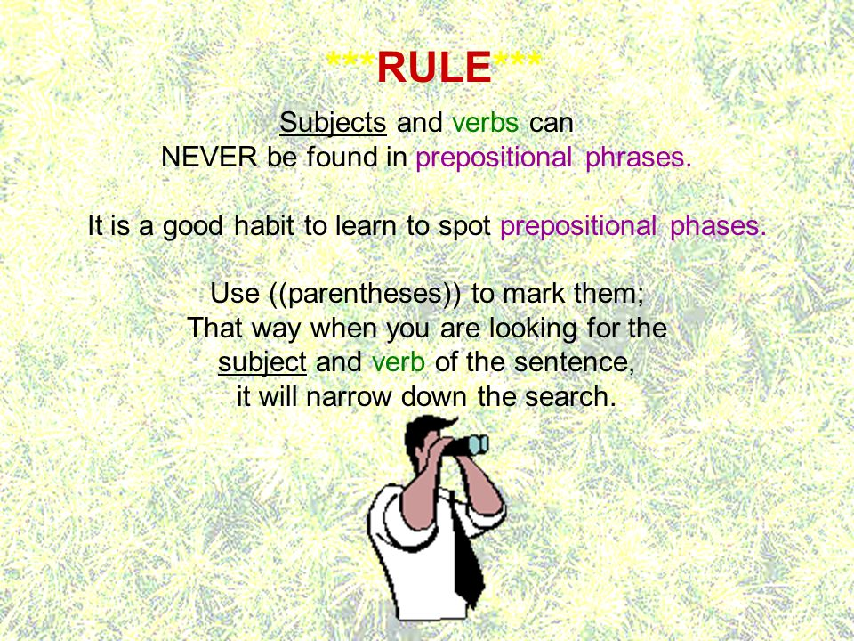 ***RULE*** Subjects and verbs can