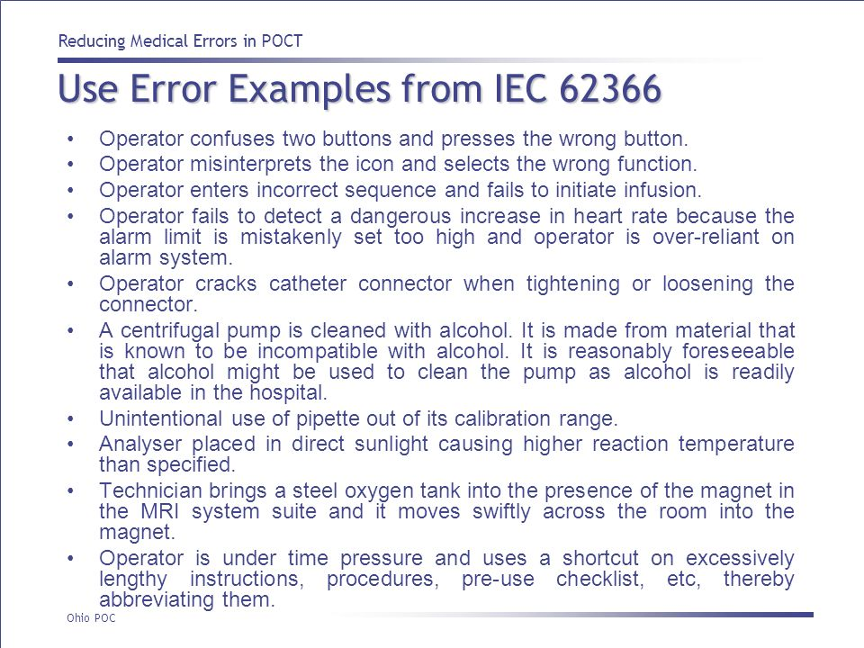 Use Error Examples from IEC 62366