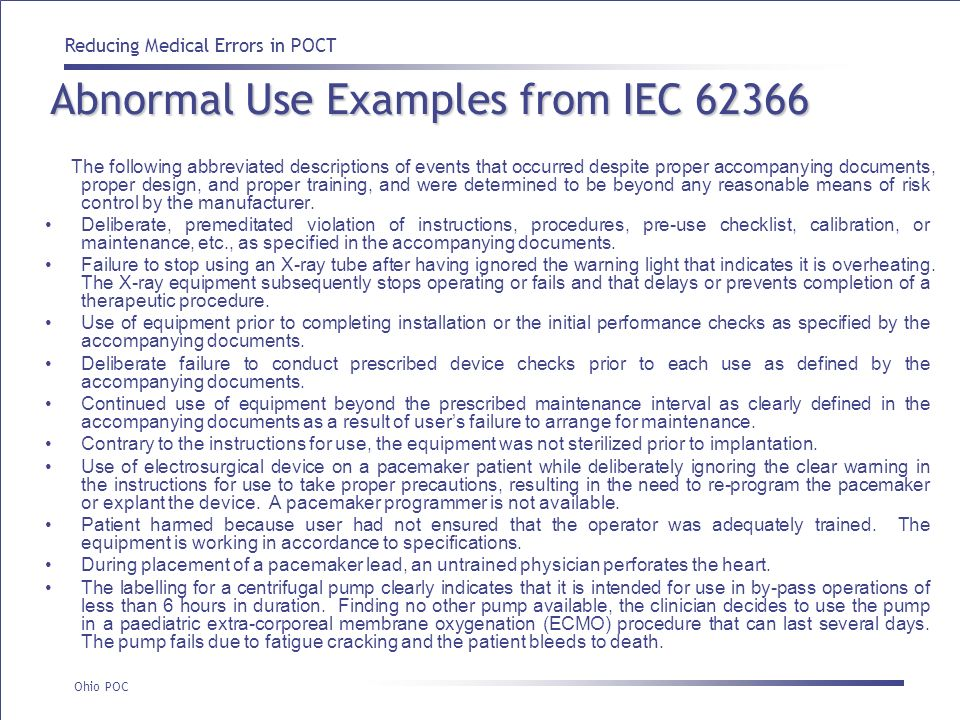 Abnormal Use Examples from IEC 62366
