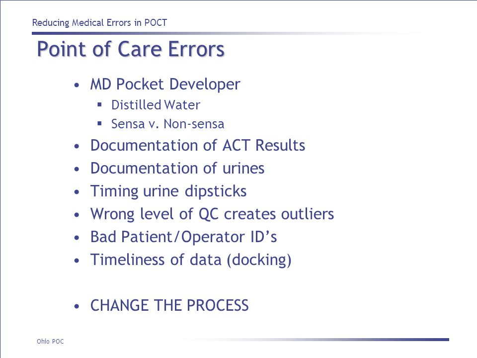 Point of Care Errors MD Pocket Developer Documentation of ACT Results