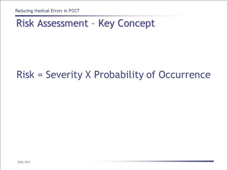 Risk Assessment – Key Concept