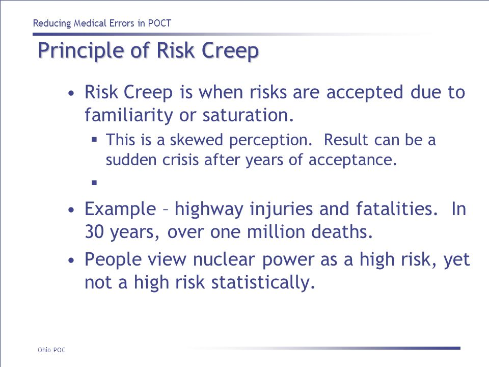 Principle of Risk Creep