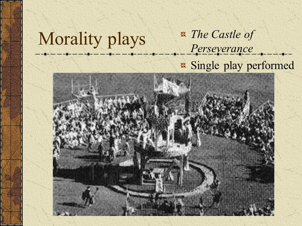 Morality plays The Castle of Perseverance Single play performed