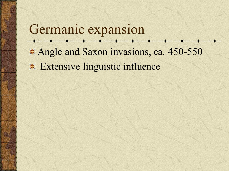 Germanic expansion Angle and Saxon invasions, ca