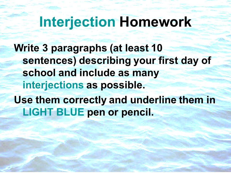 Interjection Homework