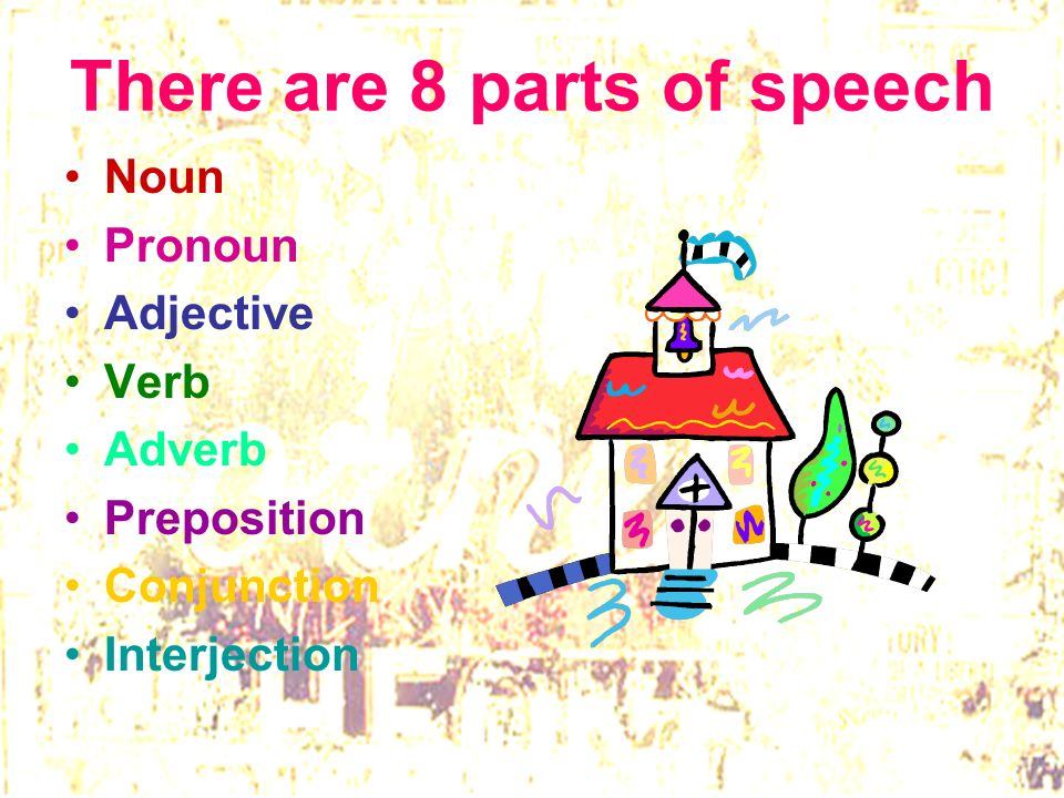 There are 8 parts of speech