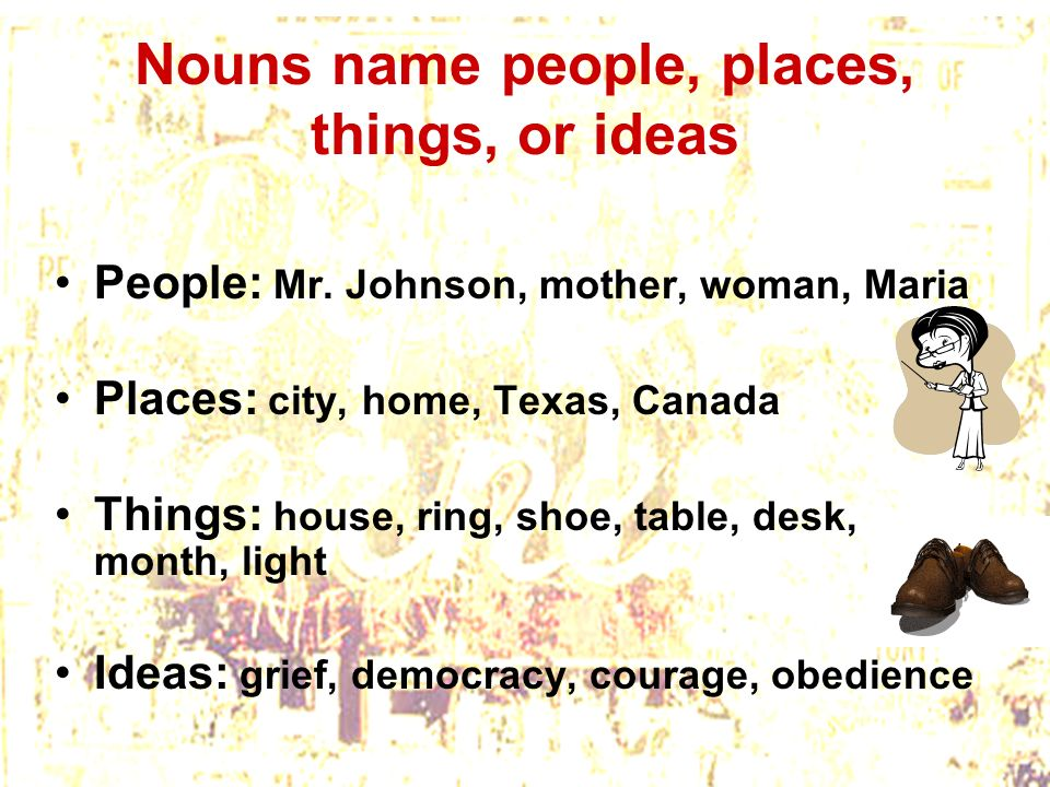 Nouns name people, places, things, or ideas