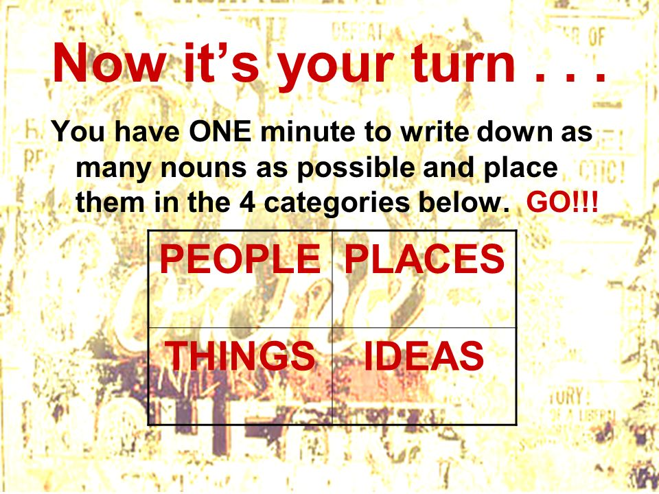 Now it's your turn . . . PEOPLE PLACES THINGS IDEAS