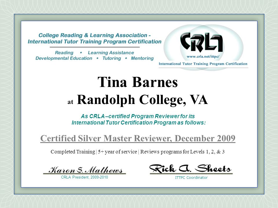 Certified Silver Master Reviewer, December 2009
