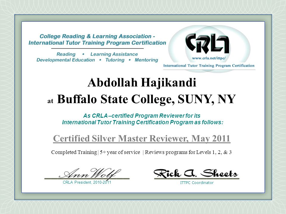 Certified Silver Master Reviewer, May 2011
