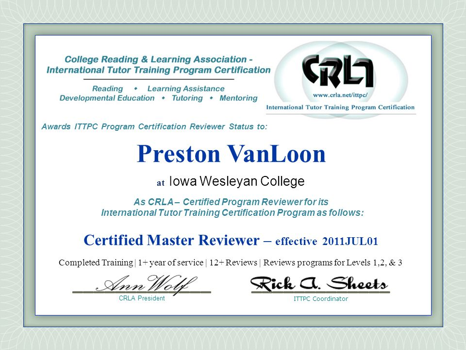 Awards ITTPC Program Certification Reviewer Status to: