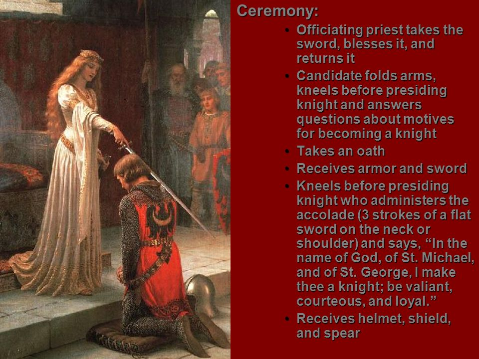 Ceremony:Officiating priest takes the sword, blesses it, and returns it.