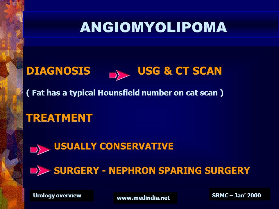 ANGIOMYOLIPOMA DIAGNOSIS USG & CT SCAN TREATMENT USUALLY CONSERVATIVE