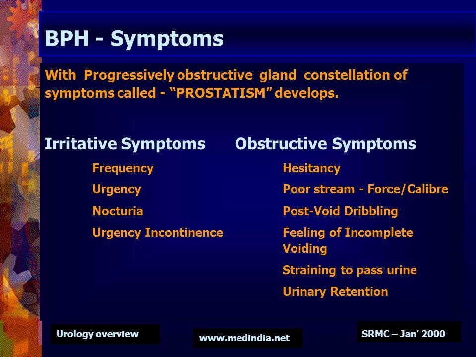 BPH - Symptoms Irritative Symptoms Obstructive Symptoms