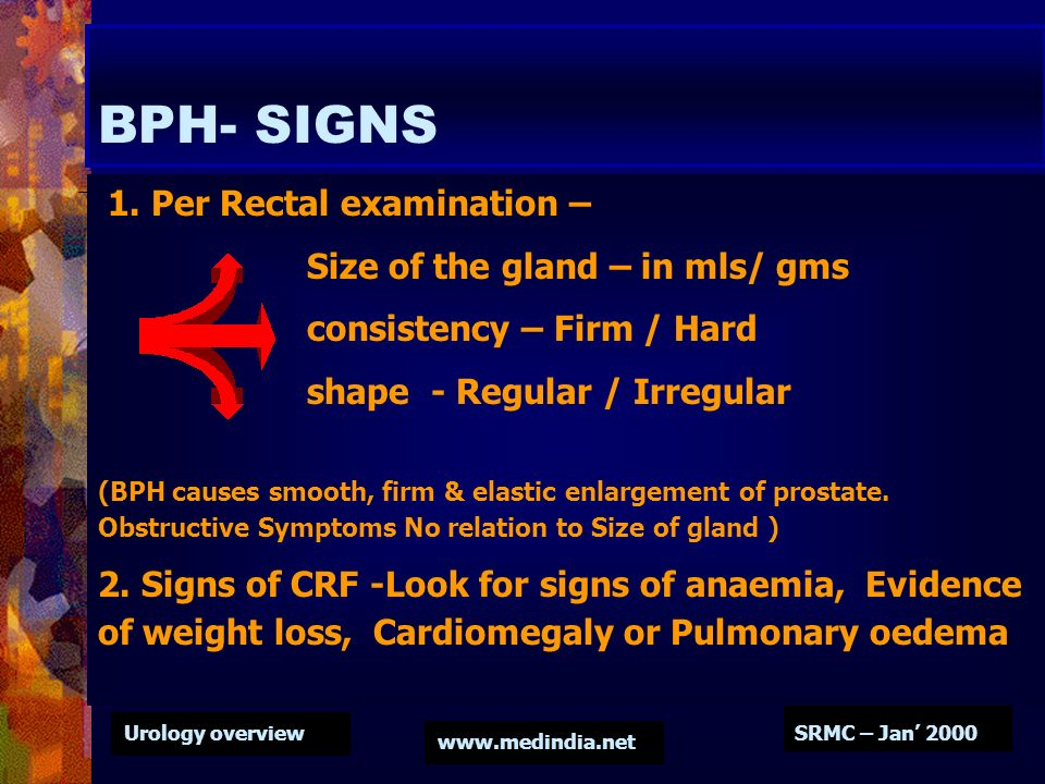 BPH- SIGNS 1. Per Rectal examination – Size of the gland – in mls/ gms
