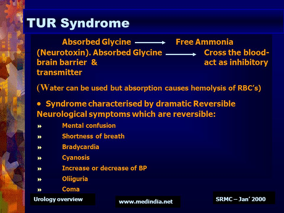 TUR Syndrome Absorbed Glycine Free Ammonia (Neurotoxin). Absorbed Glycine Cross the blood-brain barrier & act as inhibitory transmitter.