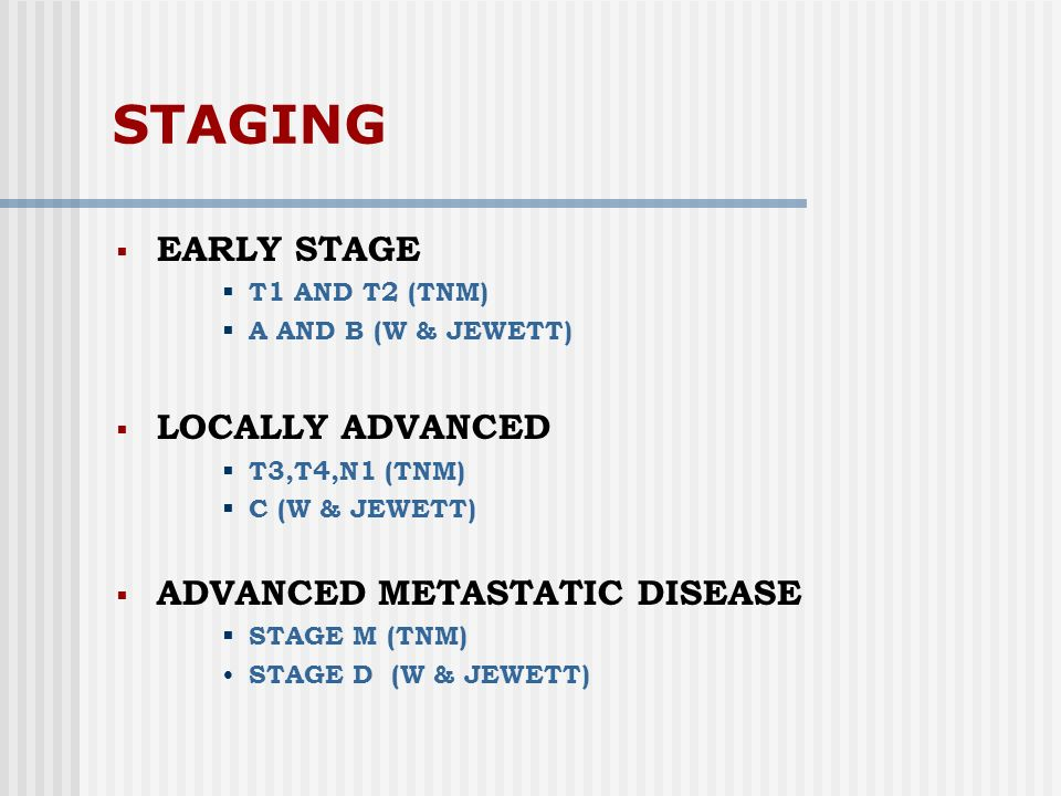 STAGING EARLY STAGE LOCALLY ADVANCED ADVANCED METASTATIC DISEASE