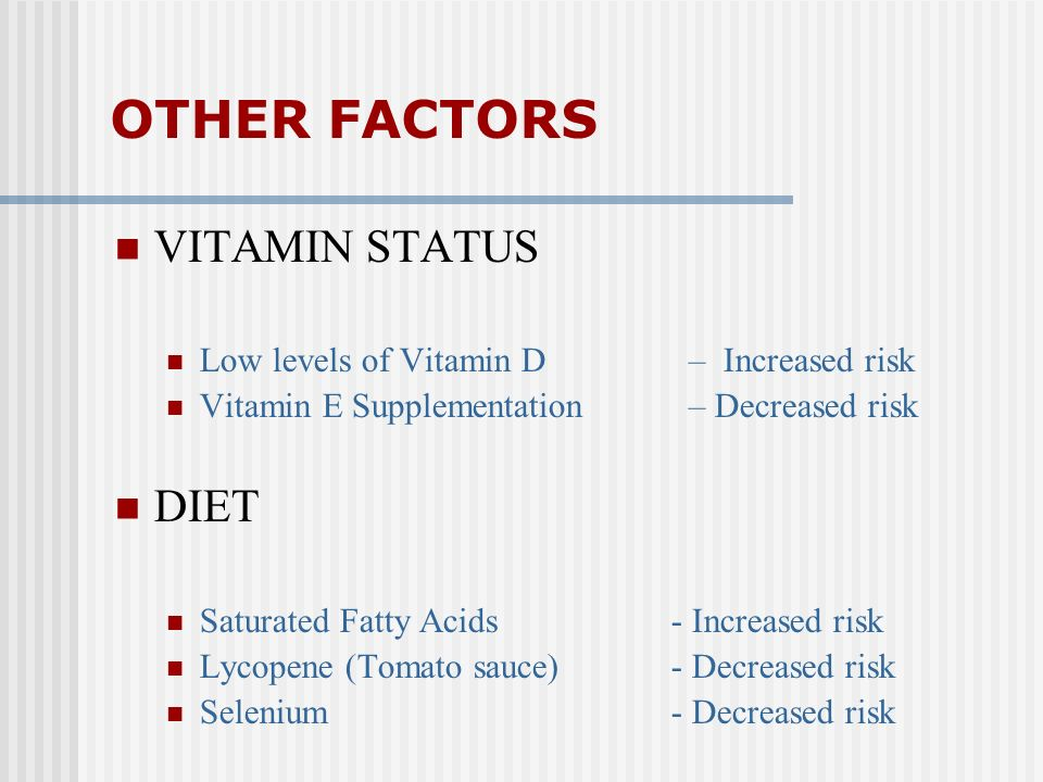OTHER FACTORS VITAMIN STATUS DIET