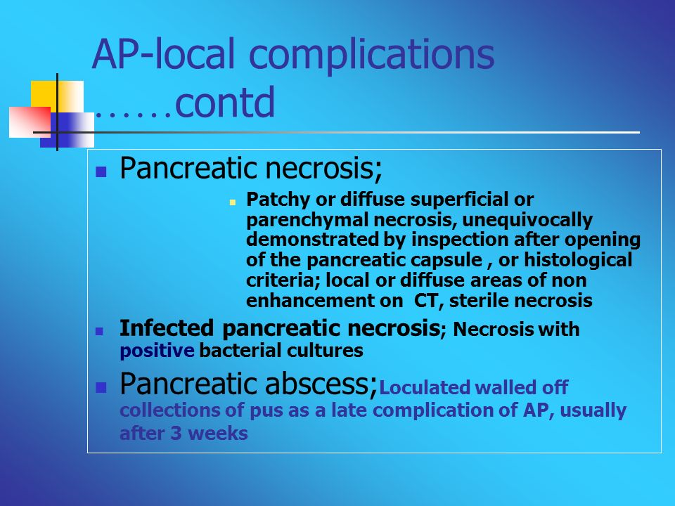 AP-local complications ……contd
