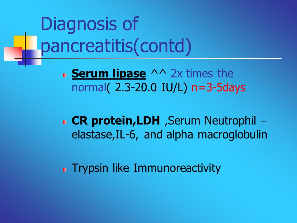 Diagnosis of pancreatitis(contd)