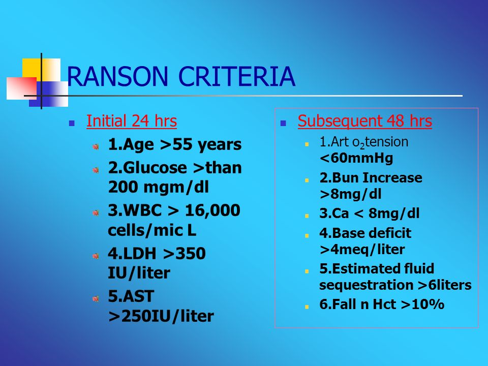 RANSON CRITERIA Initial 24 hrs 1.Age >55 years