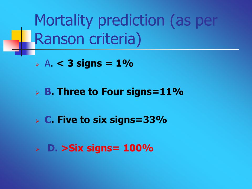 Mortality prediction (as per Ranson criteria)