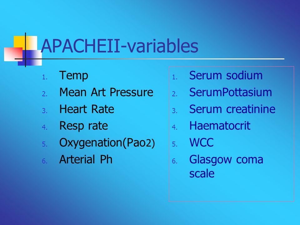 APACHEII-variables Temp Mean Art Pressure Heart Rate Resp rate