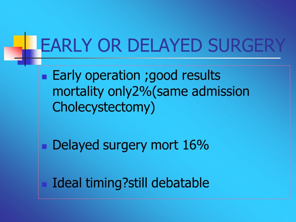 EARLY OR DELAYED SURGERY