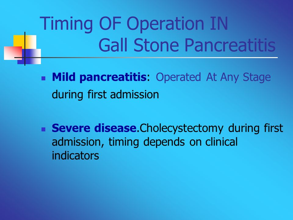 Timing OF Operation IN Gall Stone Pancreatitis