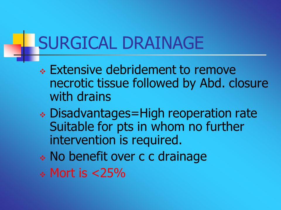 SURGICAL DRAINAGEExtensive debridement to remove necrotic tissue followed by Abd. closure with drains.