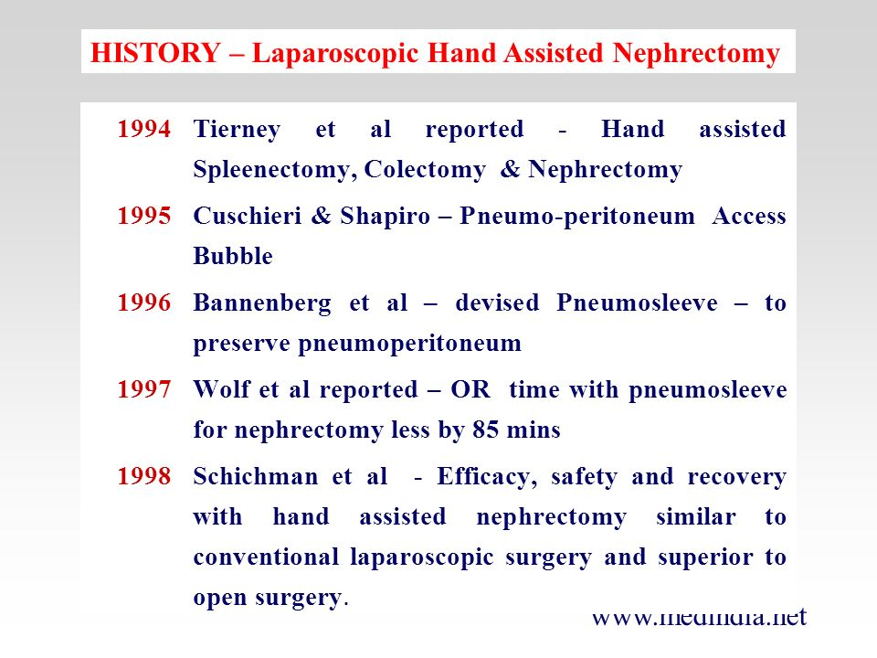 HISTORY – Laparoscopic Hand Assisted Nephrectomy