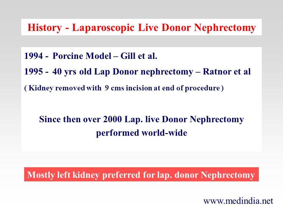 History - Laparoscopic Live Donor Nephrectomy