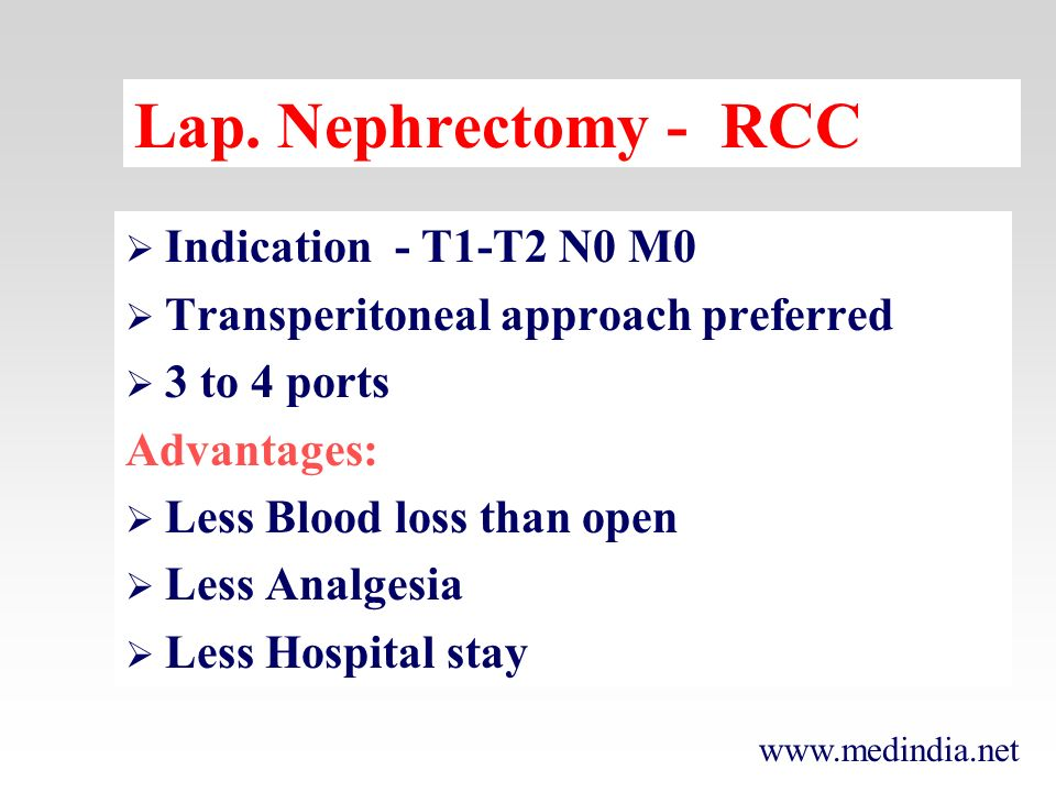 Lap. Nephrectomy - RCC Indication - T1-T2 N0 M0