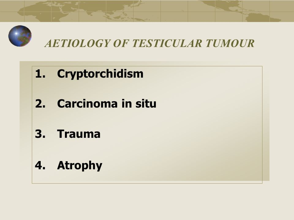 AETIOLOGY OF TESTICULAR TUMOUR