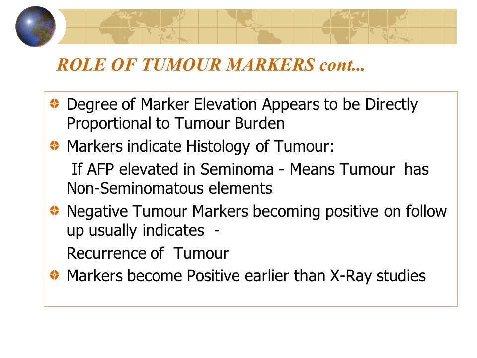 ROLE OF TUMOUR MARKERS cont...