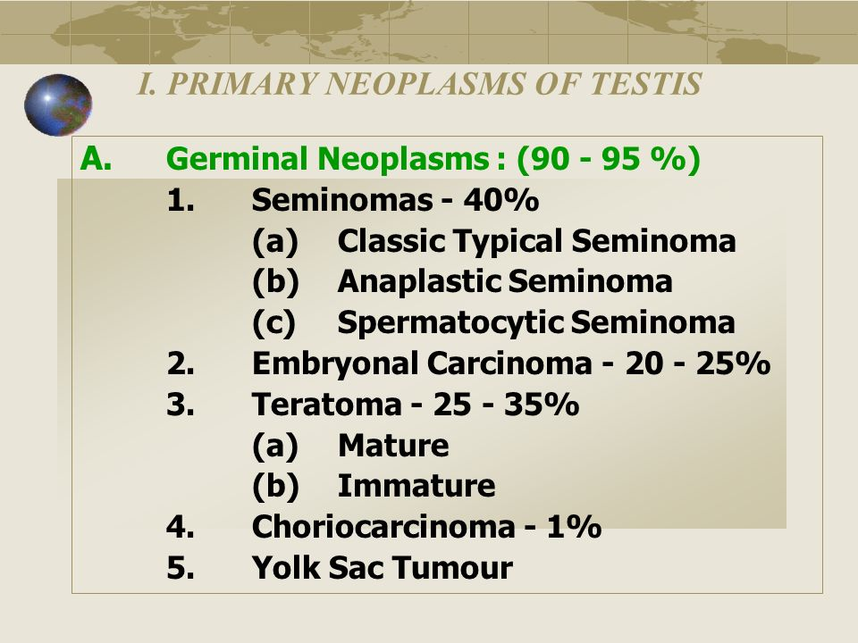 I. PRIMARY NEOPLASMS OF TESTIS